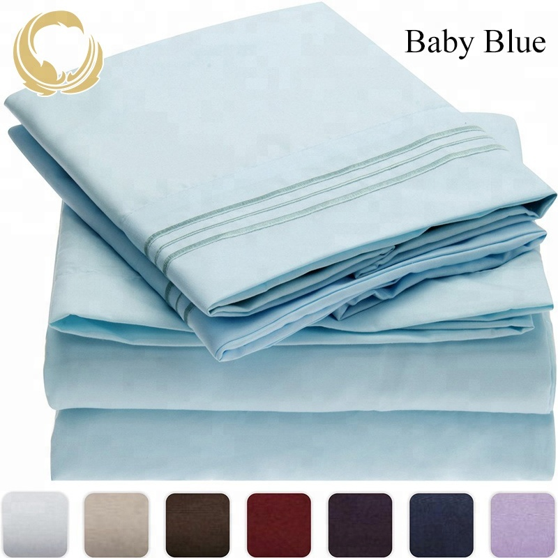 Extra Soft Breathable & Cooling Brushed Microfiber Bedding Stain Resistant Hypoallergenic Bed Sheet Set