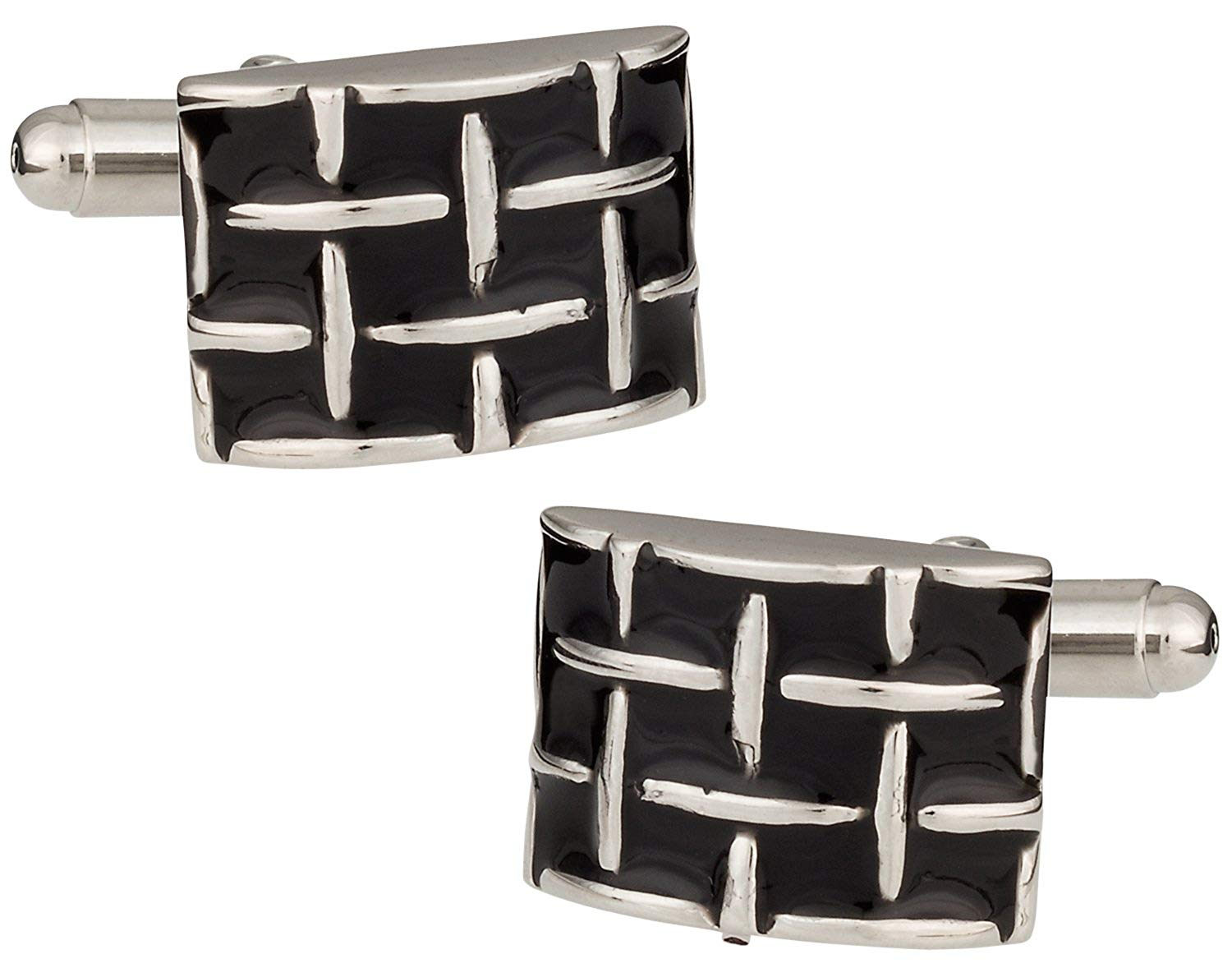 Cuff-Daddy Chunky Woven Black and Silver Cufflinks with Presentation Box