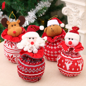 Santa Claus Christmas Apple Bag Knit Fabric Candy Gift Bag Pouch Container Christmas Decorations for Home New Year Supplies