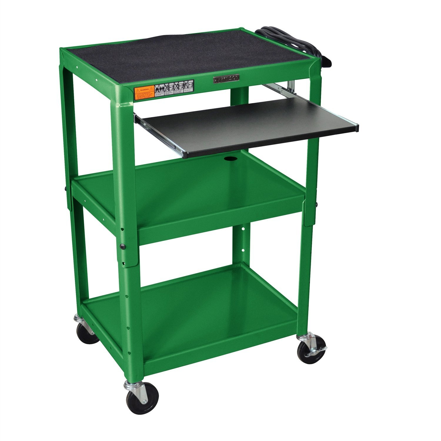 Green Steel Mobile Stand Up Computer Desk Workstation