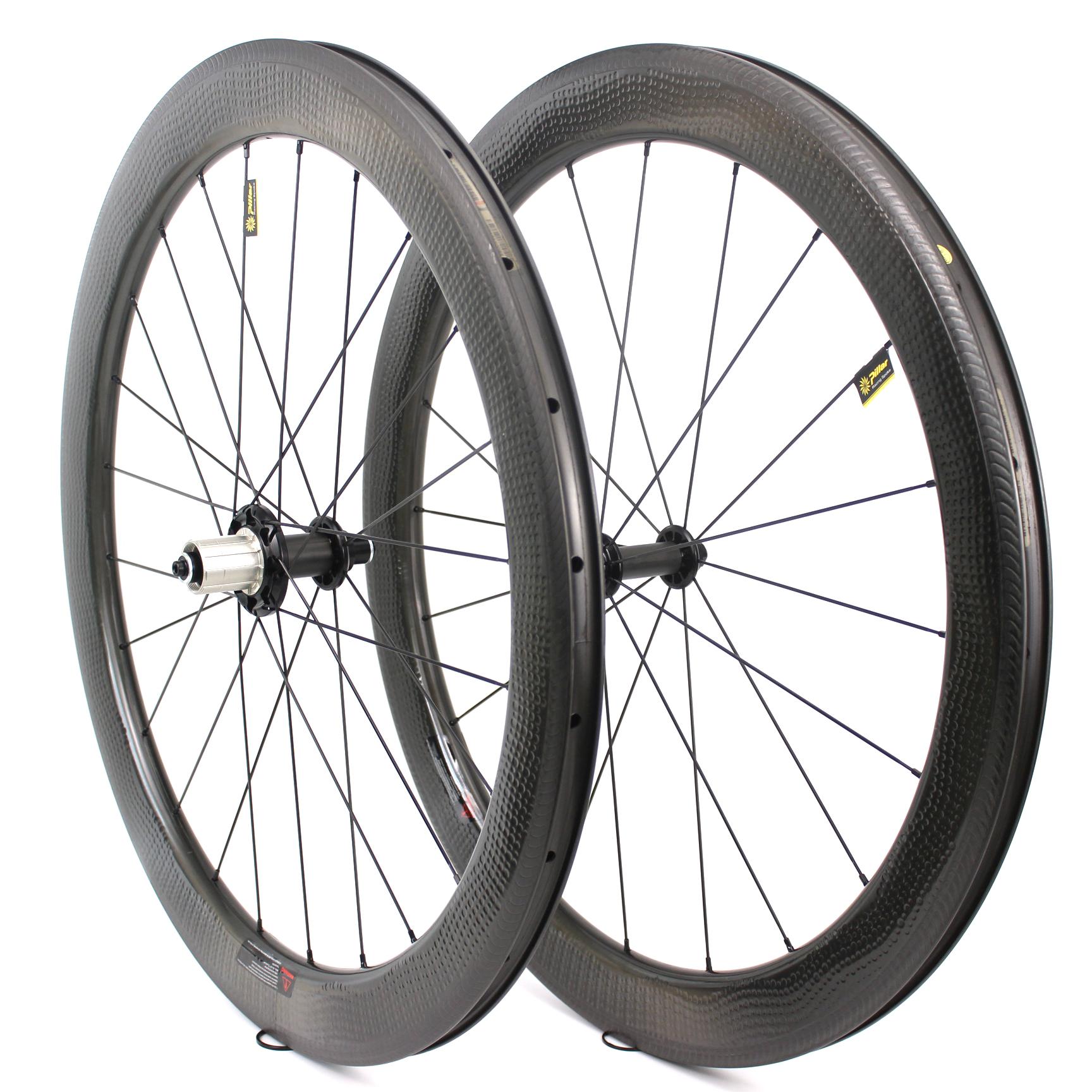 Top sale 58mm depth carbon road bike wheelsets 700c dimple surface carbon wheels