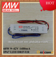 MEAN WELL 60W 9-42V 1400mA Constant Current Output 90-264VAC Universal Input UL&CE&CB LED Power Supply LPC-60-1400