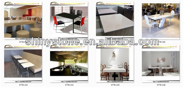 Stylish Hi-MAC design square shaped designer white solid surface/artificial marble dining table