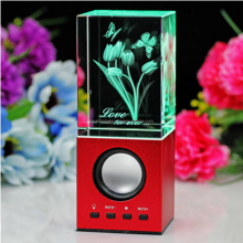 Fashionable 3d engraved crystal gift speaker box with light