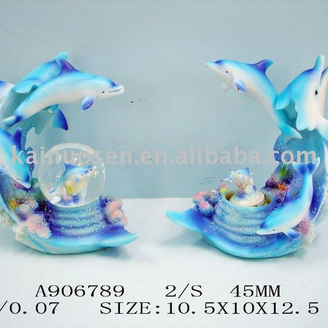 Decorative blue resin dolphin/Snow ball-hotselling!