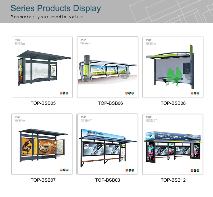 Modern Stainless Steel Bus Stop/station Shelter with Advertising