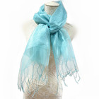 Blue silk and wool blending thin feather scarves
