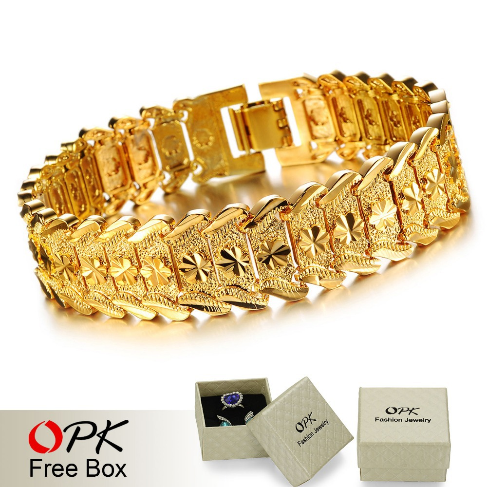 63e8c997f OPK JEWELRY Luxury 18K Real Gold plated Bracelet & Bangle Wide Surface 17mm  Attractive Men Jewelry Top Workmanship 398