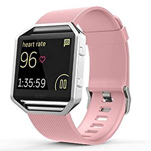Fitbit Blaze Classic Band Small, Gersymi Tech Soft Silicone Replacement Sport Strap Band with Quick Release for Fitbit Blaze Smart Watch(Pink band small)