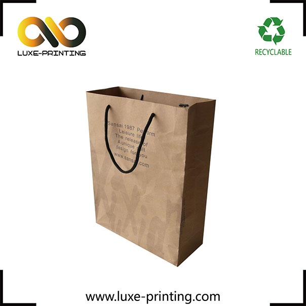2017 newest on stock brown kraft paper bag with twisted paper handle