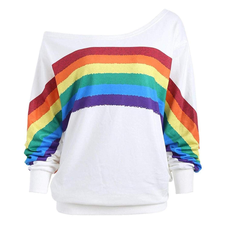 Feitengtd Womens Casual Rainbow Print Tunic Tops T-Shirt Long Sleeve Pullover Shirts Sweatshirt