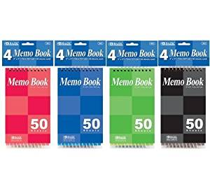 "3 Pk, BAZIC 50 Sheets 3"" X 5"" Top Bound Spiral Memo Books (4 per Pack)"