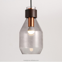 glass hanging light fixtures with copper socket cup for modern shops china supplier