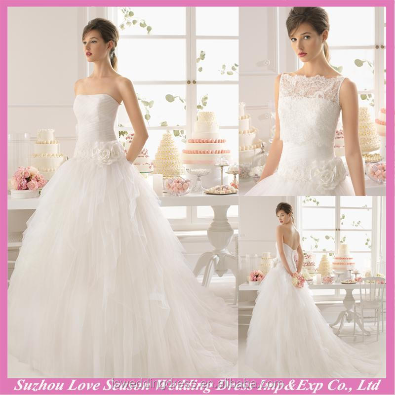 WD9167 2016 white removable lace jacket handmade flower waist layers tulle ball gown without train cheap 2 in 1 wedding dresses