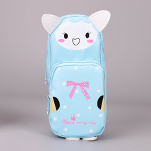 1 шт. корейский мультяшный животный PU кожаный чехол-карандаш с изображением кота кролика панды водонепроницаемая сумка для карандашей канц...(Китай)