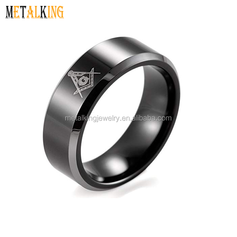 Black Silver Tungsten Carbide Ring with Masonic Compass Square Symbol Beveled Edges