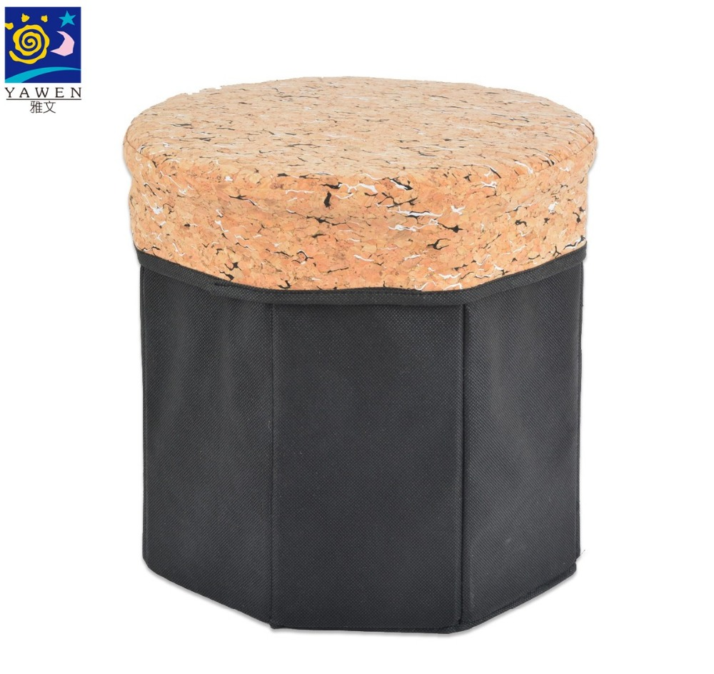 Quality quality Round Non-woven+cork foldable storage box for home storage chair box