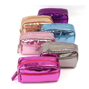 Cheap Wholesale PU Leather Women Colorful Glitter Cosmetic Organizer Shiny Custom Makeup Bag