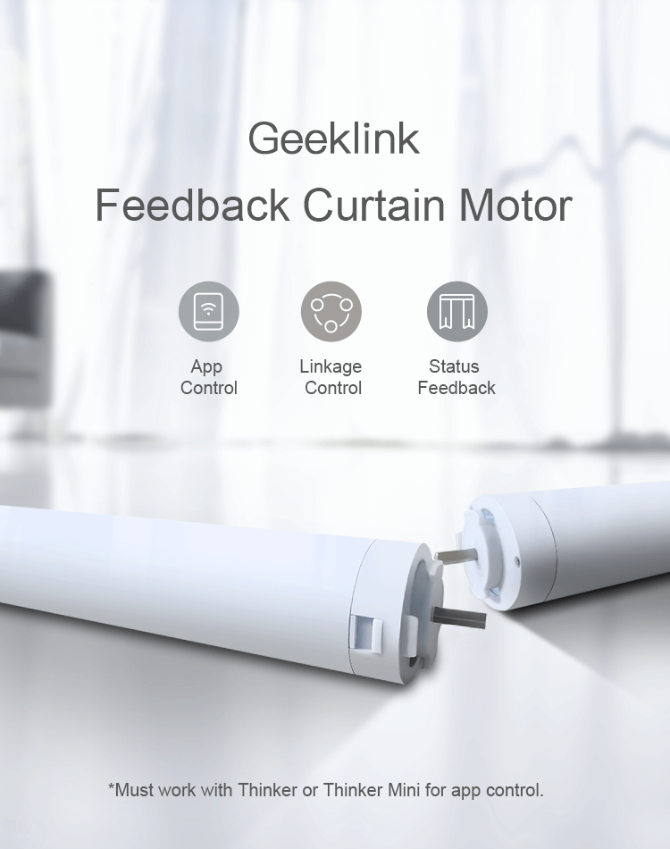 Geeklink customized built smart home automatic use app monitoring remote control curtains motor electric curtain track system