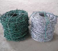 PVC coated double twisted barbed wire roll price/ 2mm barbed wire fence / Hot Dipped Galvanized barbed wire price per roll