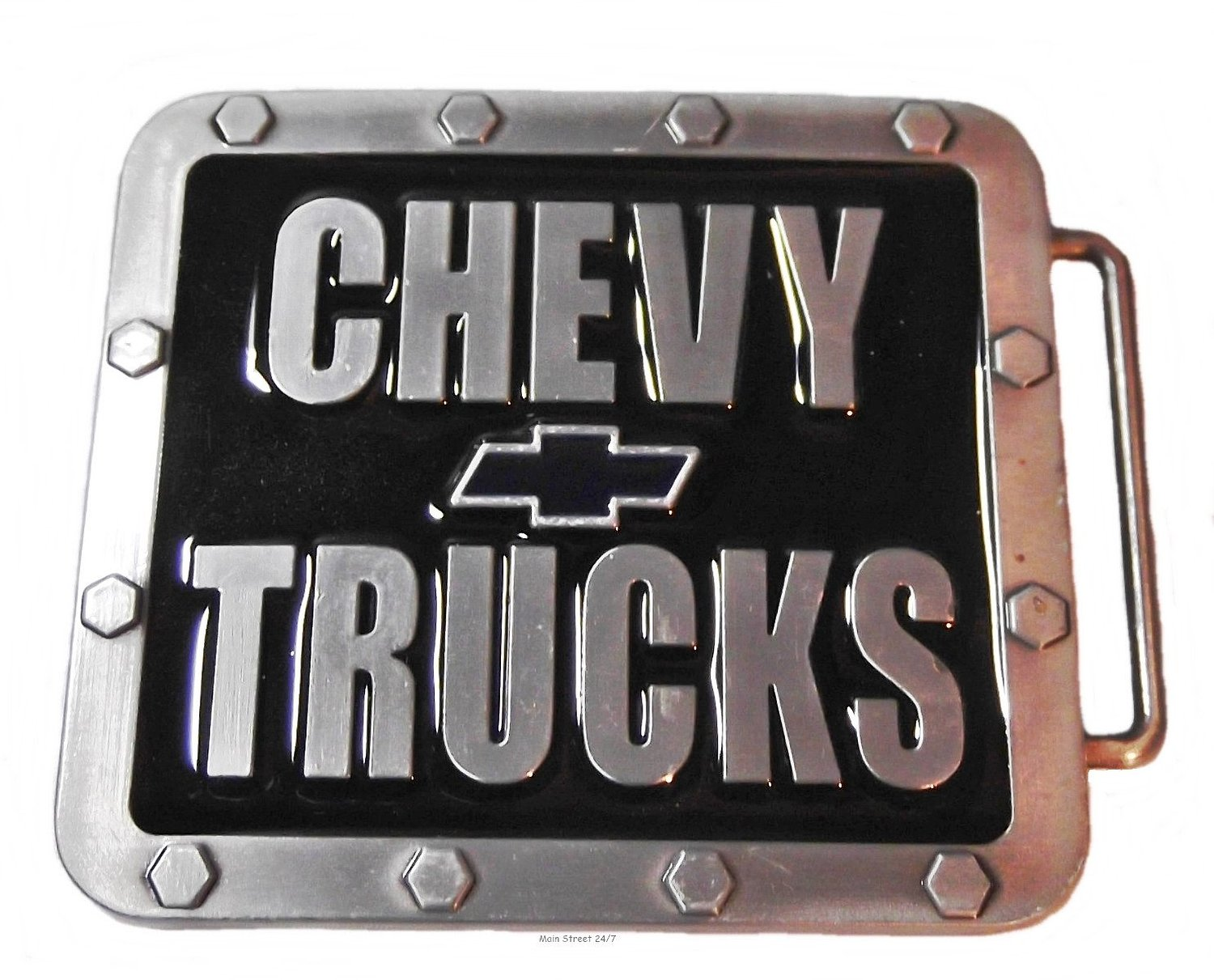 CHEVY TRUCKS Pewter Finished Metal and Enamel BELT BUCKLE