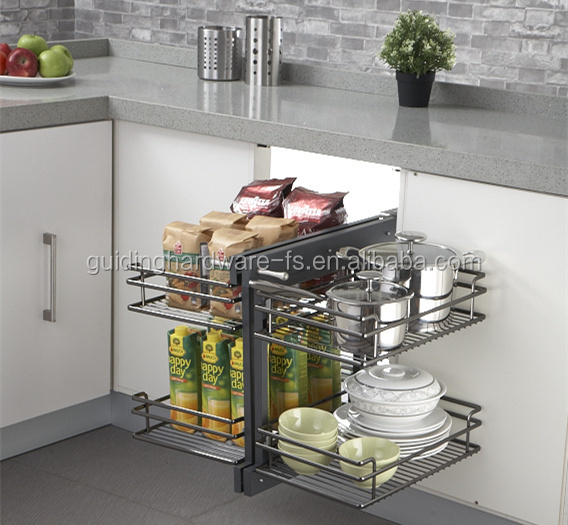 Kitchen cabinet accessories full pull out magic corner chrome wire baksets with soft closing sliders