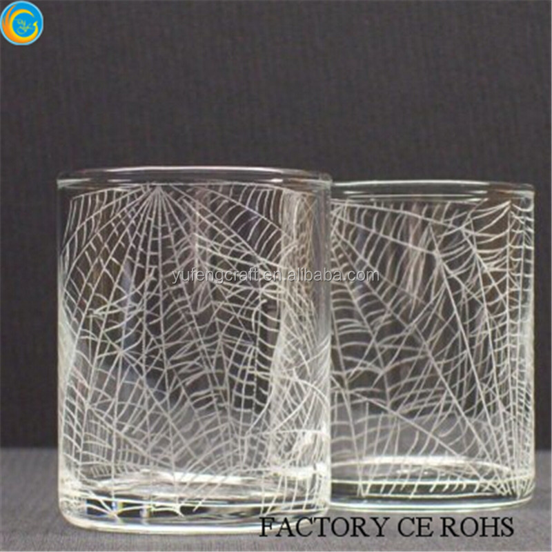2016 latest halloween simple spider web glass candle cups home deco/ cheap glass candlesticks