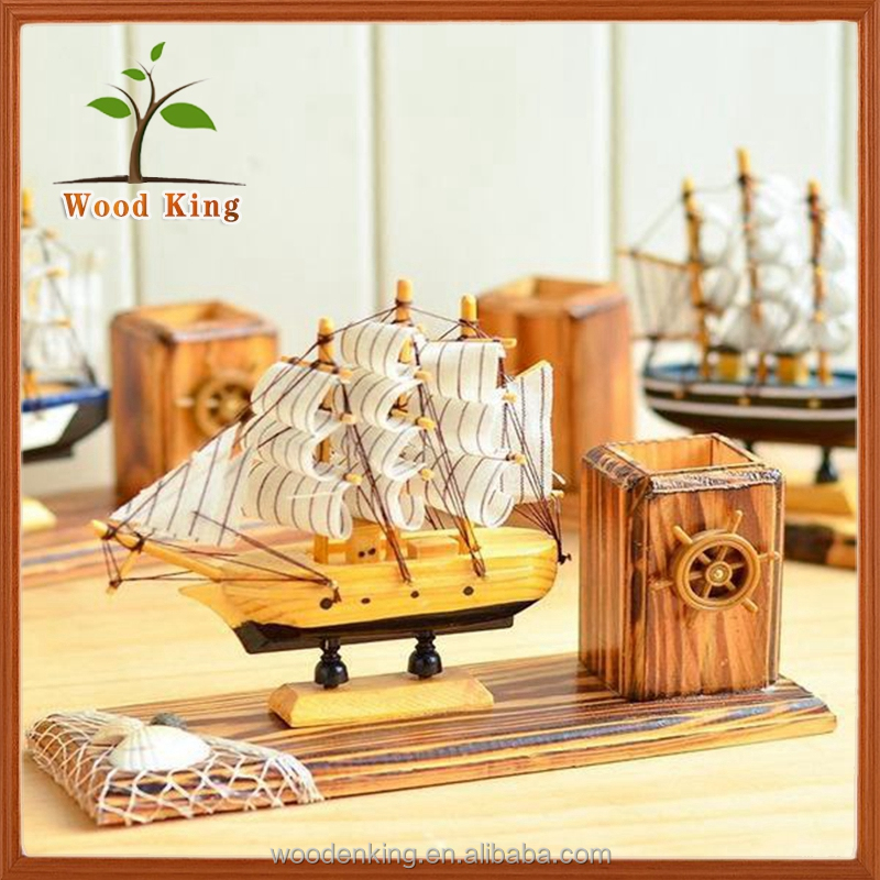 European Creativeoffice Sailboat Men Womens Books Sailboat Pen Container Models Wooden Boat Handicraft Buy Wooden Boat Handicraftwooden Boat