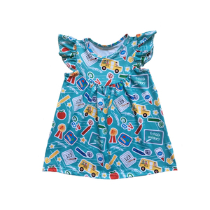 New Baby Frock Design back to school toddler Girl's Pearl Dress Flutter one piece Girls Dress