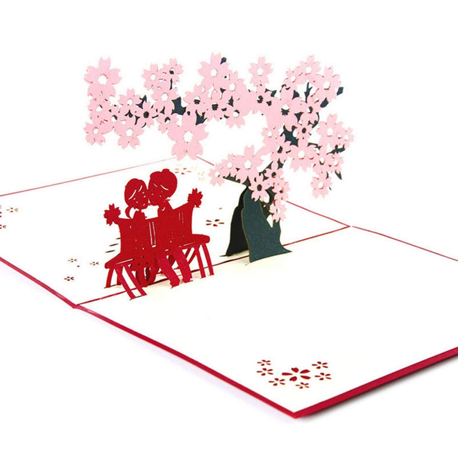 3D Pop up Greeting Cards Cherry Tree Love Valentine Anniversary Easter Birthday-F1Fb