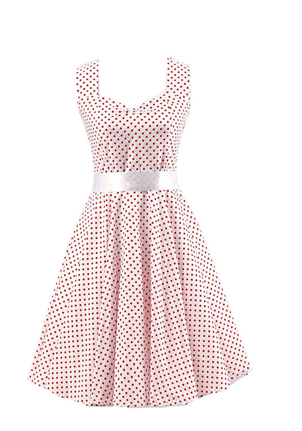 Ensnovo Womens Retro 1950s Vintage Polka Dot Halter Rockabilly Pinup Swing Dress