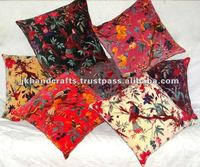 Velvet Bird Of Paradise Cushion Indian Bird Print Velvet Pillow Cover