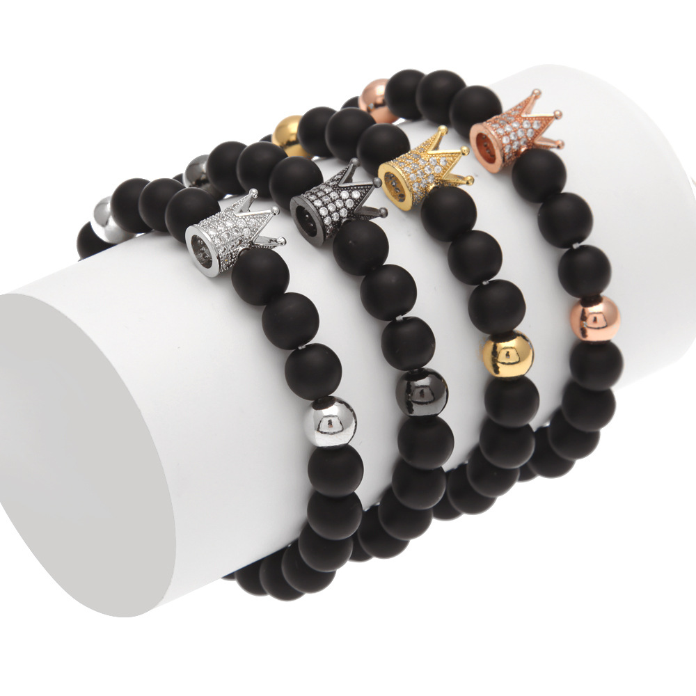 Black Stone Bracelets Crown Men's Beads Bracelet