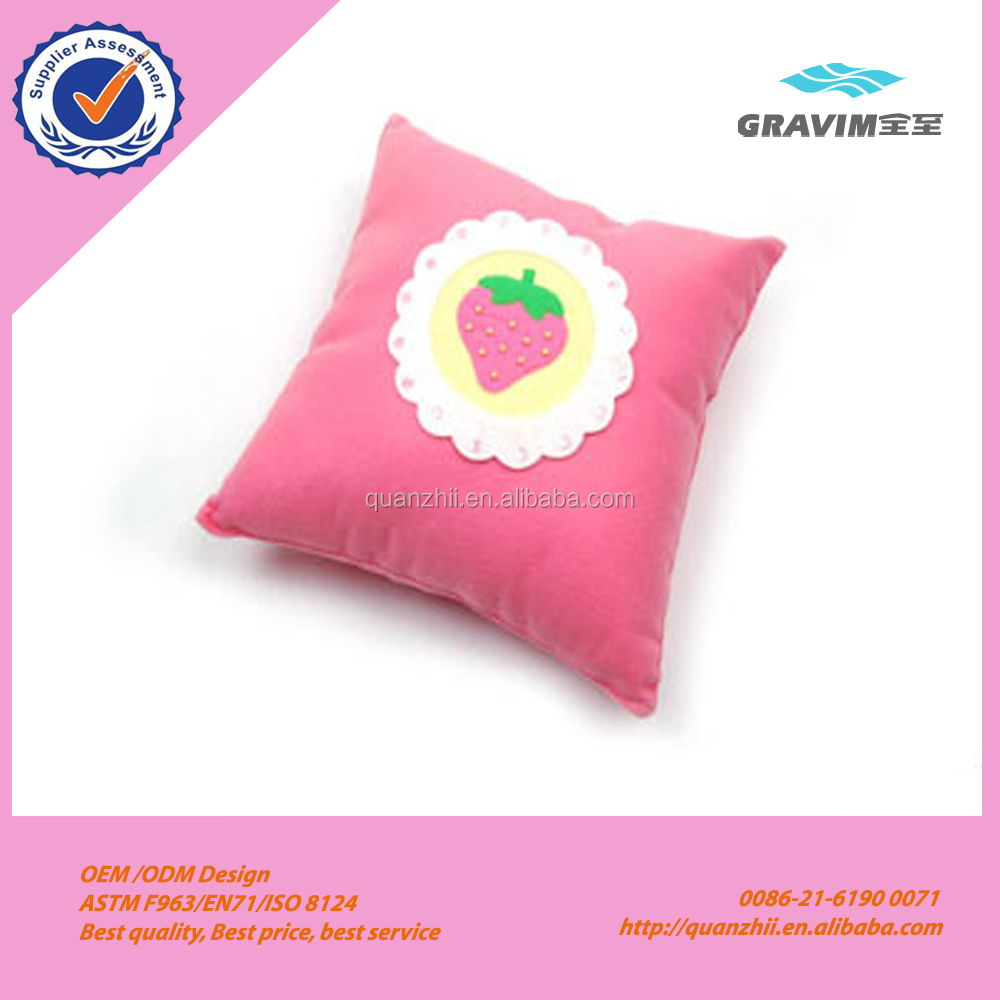 Plush pink strawberry fruit shape sofa or chair square cushion for girl