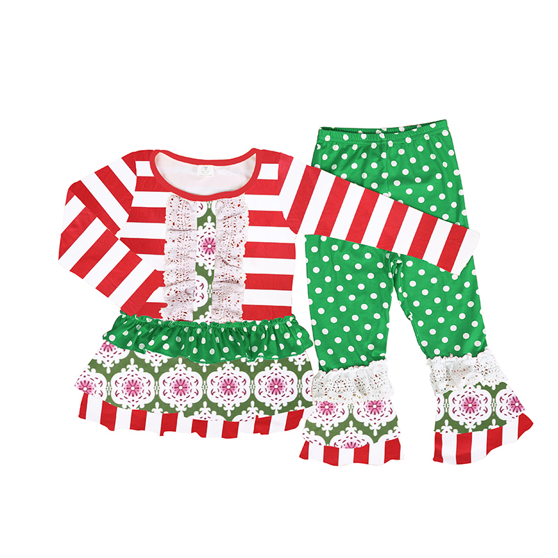 Cheap baby clothes striped print ruffle pant outfit wholesale children clothes