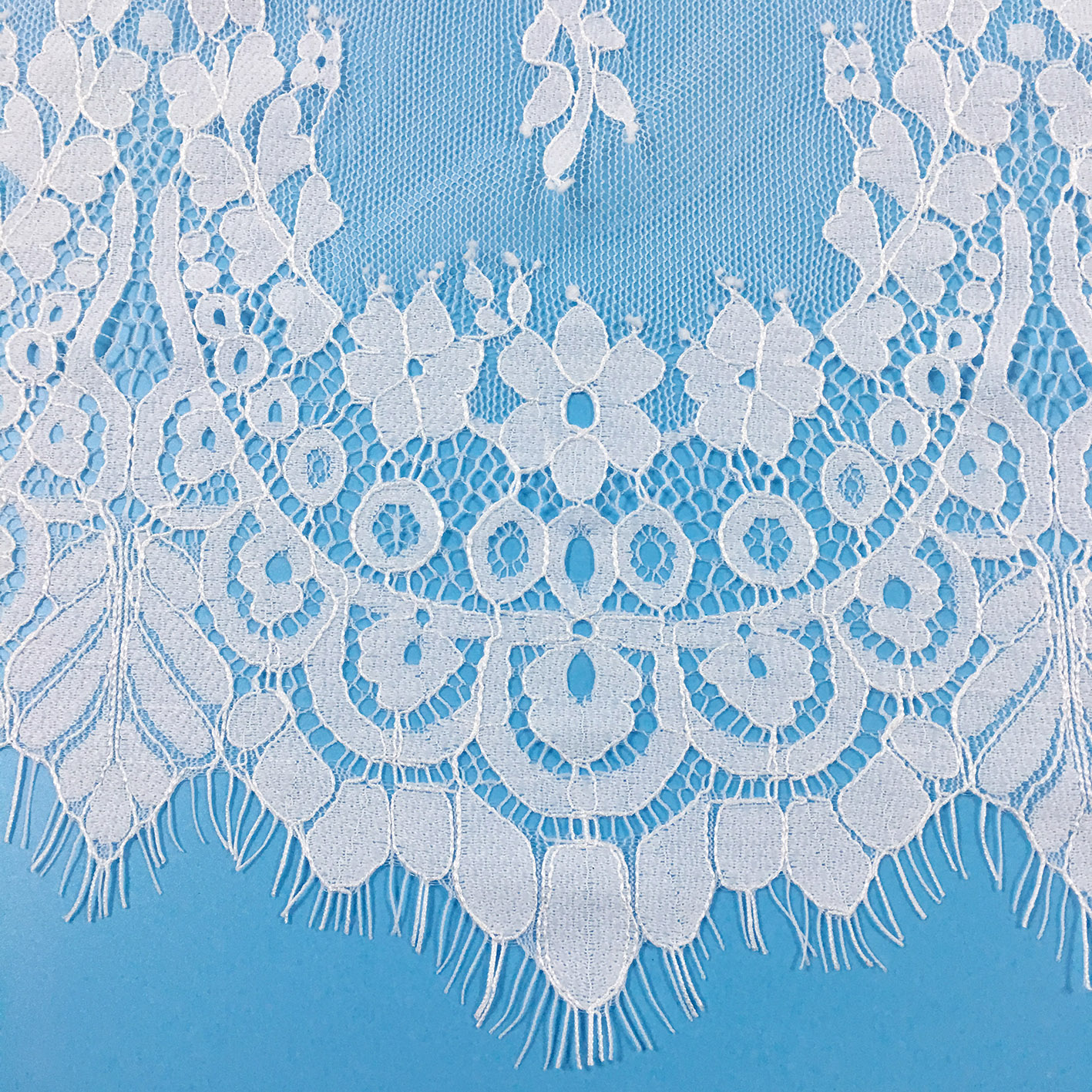 Wholesale Different Types Of Voile Embroidery Scalloped Eyelash Lace