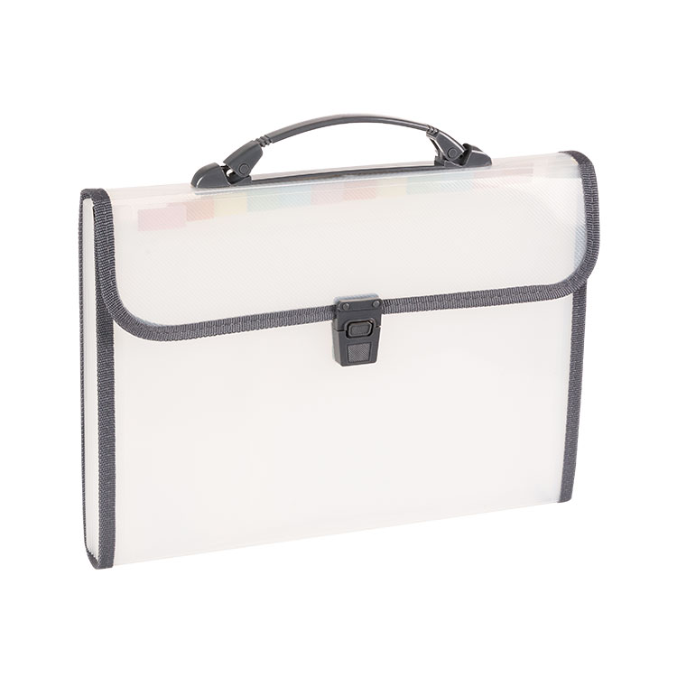 A4 Letter Size Translucent 13 Pocket Expanding File Folder with Handle