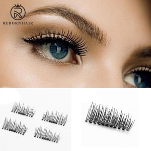 Upgrade no glue super light thin clear band 3d false curling magnetic eyelashes with single magnet
