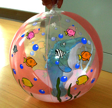 clear pvc beach ball with inflatable dolphin toy inside/beach ball with inflatable animal inside