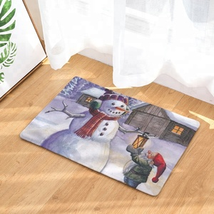 3d Digital Printed Antislip Flannel Christmas Decoration Snow Man Pattern Floor Mat Door Mat For Bathroom Bedroom