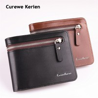 Original Curewe Kerien brand men's short zipper wallet high quality pu leather hot sell cheapest purse Horizontal Wallet
