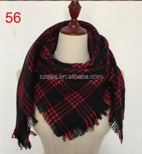 100% wholesale square 100*100cm plaid acrylic scarf hijab for children