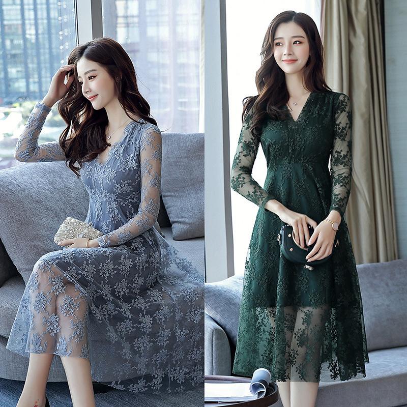 Korean Design A Line Formal Dresses 2018 Spring New Fashion V Neck