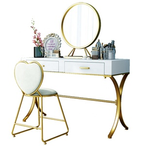 Modern white dressing table with mirror and stool