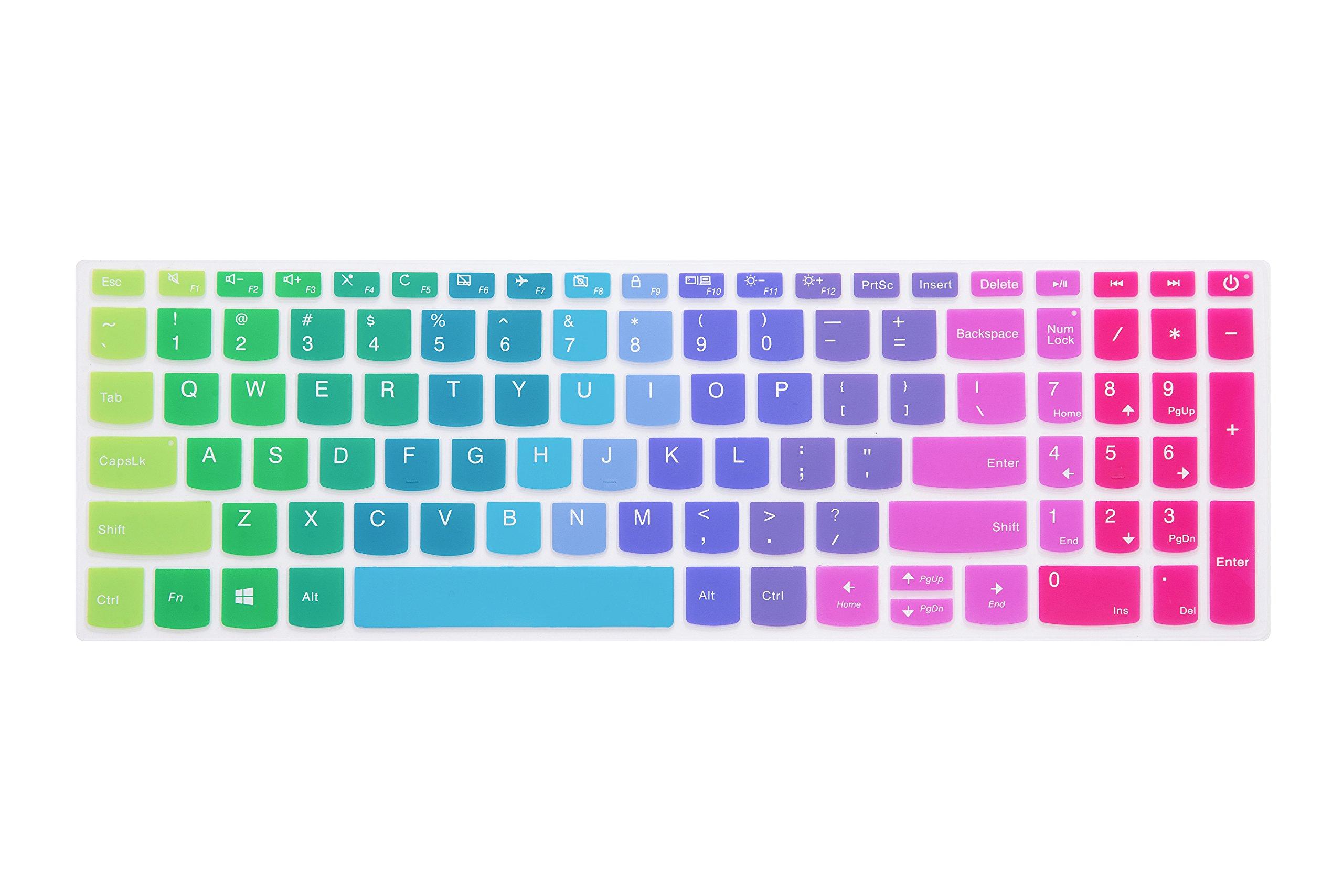 """Leze - Ultra Thin Keyboard Protector Skin Cover for Lenovo V330, ideapad 320 15.6"""" / 17.3"""",ideapad 520 15.6"""" Laptop US Layout - Rainbow"""