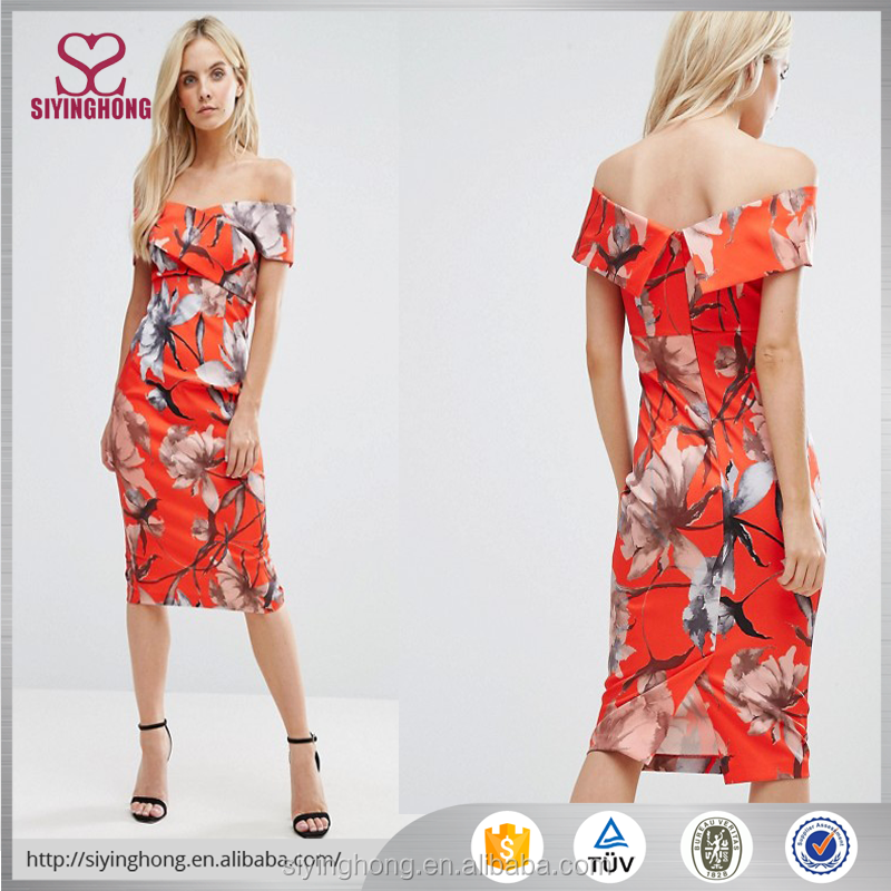 wholesale bodycon off-the-shoulder flower pattern orange color dress
