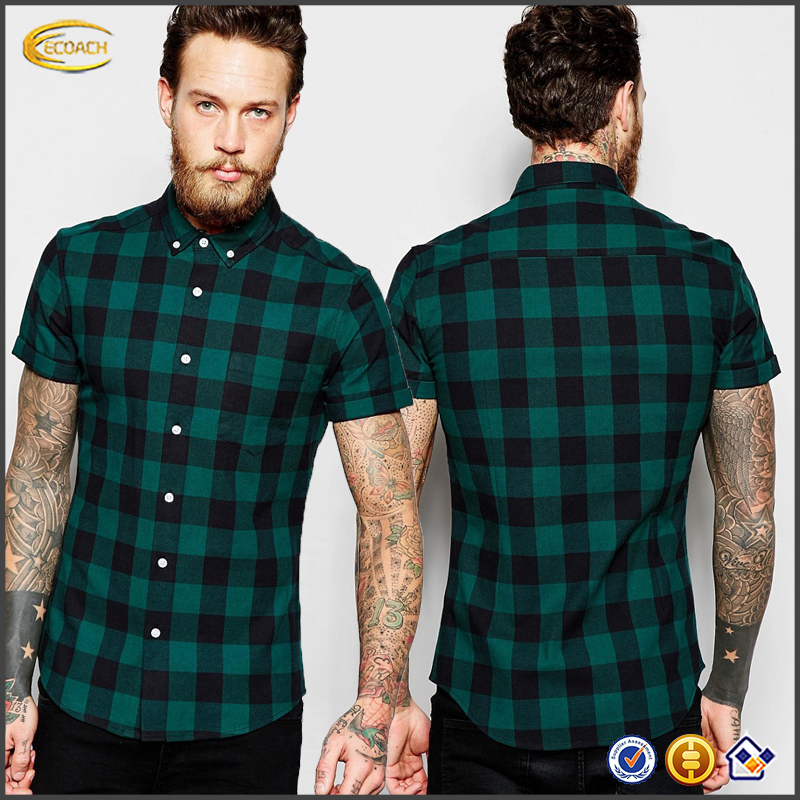 Ecoach wholesale mens Woven flannel short sleeve Button-down collar green Buffalo Plaid Skinny Shirt