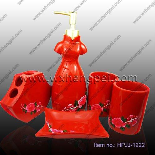 rouge salle de bains ensemble - Accessoire De Salle De Bain Rouge