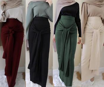 Fashion Beige  Sexy Girl Skirt Long Skirt with Belt for Muslim Women