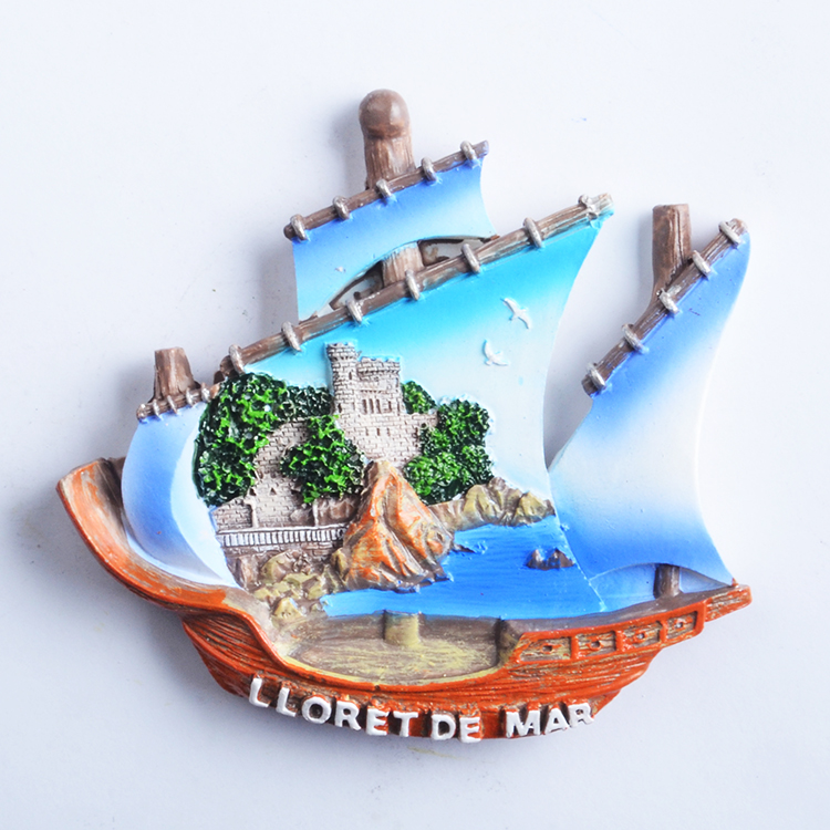 Blue Sea Island Barcellona Souvenir Stampa Fridge Magnet